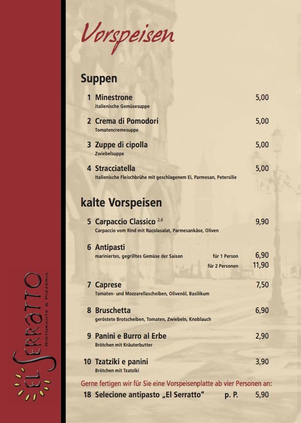 Speisekarte vom El Serratto - Ristorante & Pizzeria